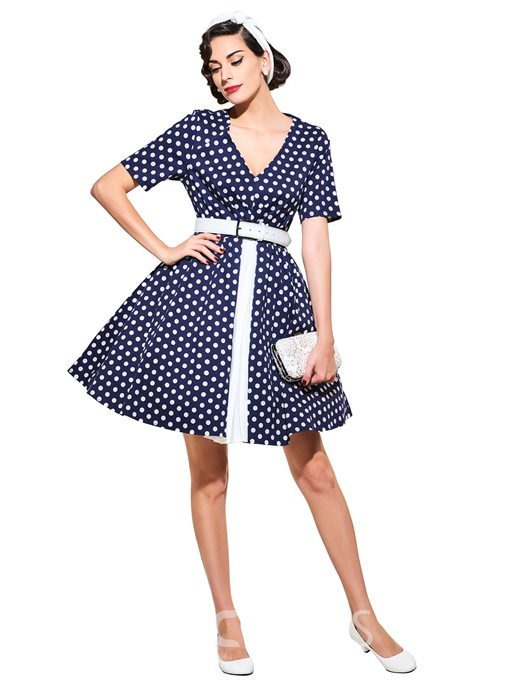Ericdress V-Neck Short Sleeve Vintage A Line Dress