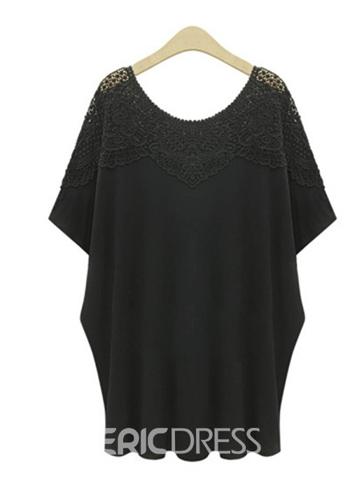 Ericdress Hollow Lace Summer Plus Size T-Shirt