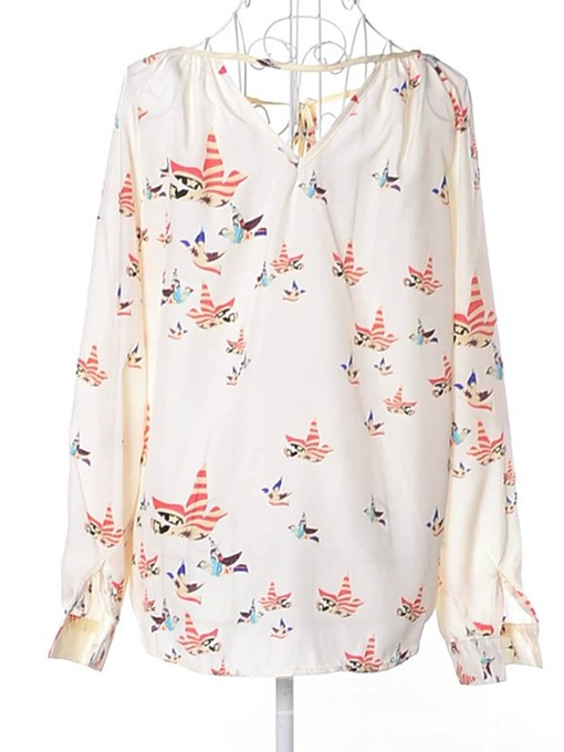 Ericdress Floral Puff Sleeve Lace-Up Plus Size Blouse