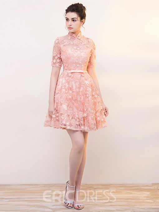 Ericdress Short Sleeve A Line High Neck Lace Cocktail Dress