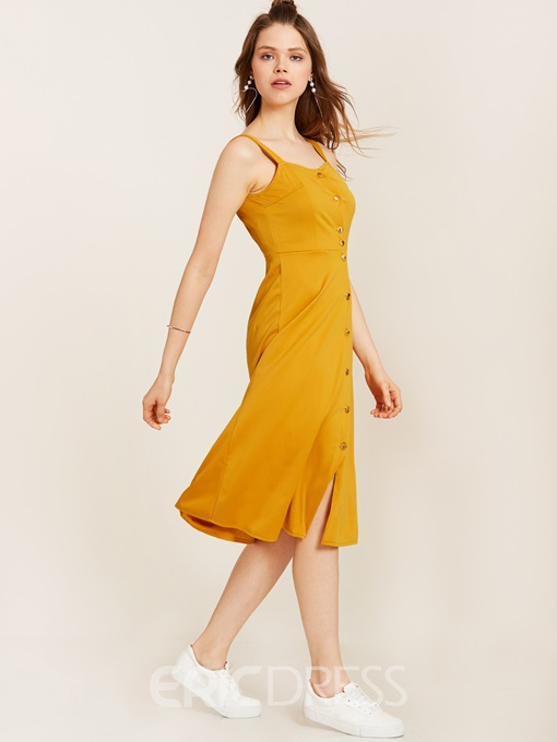 Ericdress Single-Breasted Spaghetti Strap Backless A-Line Dress