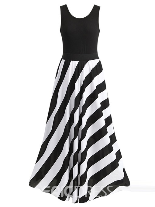 Ericdress Vertical Striped U-Neck Expansion Maxi Dress