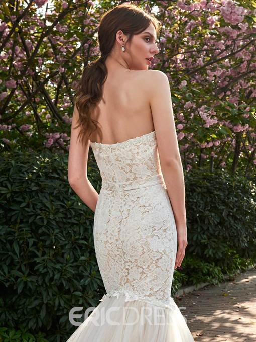 Ericdress Strapless Lace Mermaid Tulle Color Wedding Dress