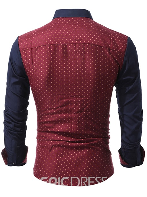 Ericdress Patched Polka Dots Casual Men's Shirt