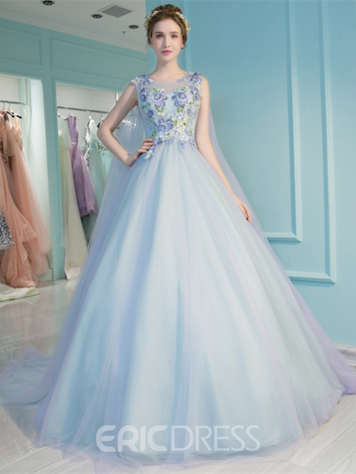 Ericdress Ball Sleeveless Embroidery Quinceanera Dress
