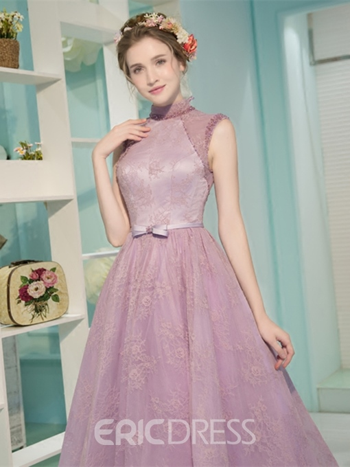 Ericdress Vintage High Neck Lace Tea Length Evening Dress With Bowknot