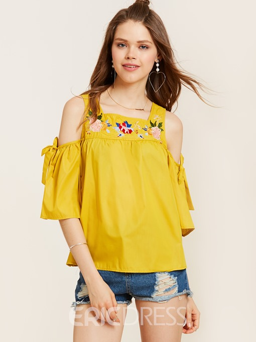 Ericdress Cold Shoulder Floral Embroidery Blouse