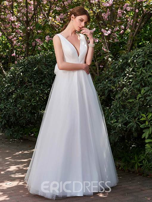 Ericdress V Neck A Line Backless Garden Wedding Dress