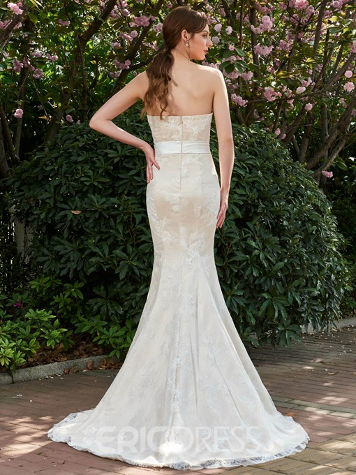 Ericdress Elegant Strapless Sweetheart Long Mermaid Wedding Dress