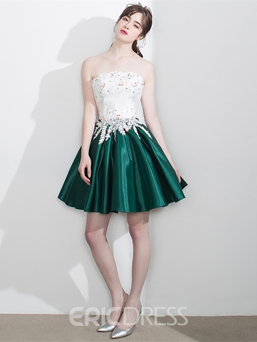 Ericdress Short Strapless Beaded Contrast Color Homecoming Dress