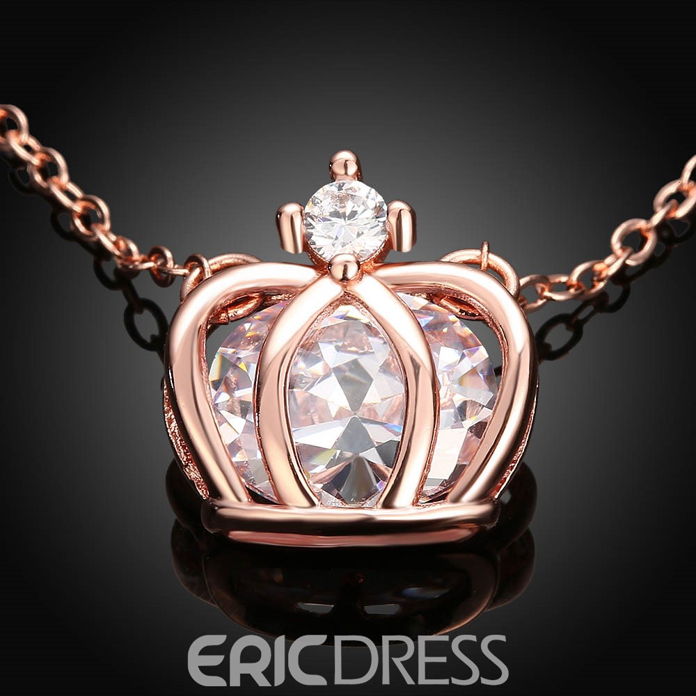 Ericdress Fashionable K Gold Crown Pendant Charm Necklace