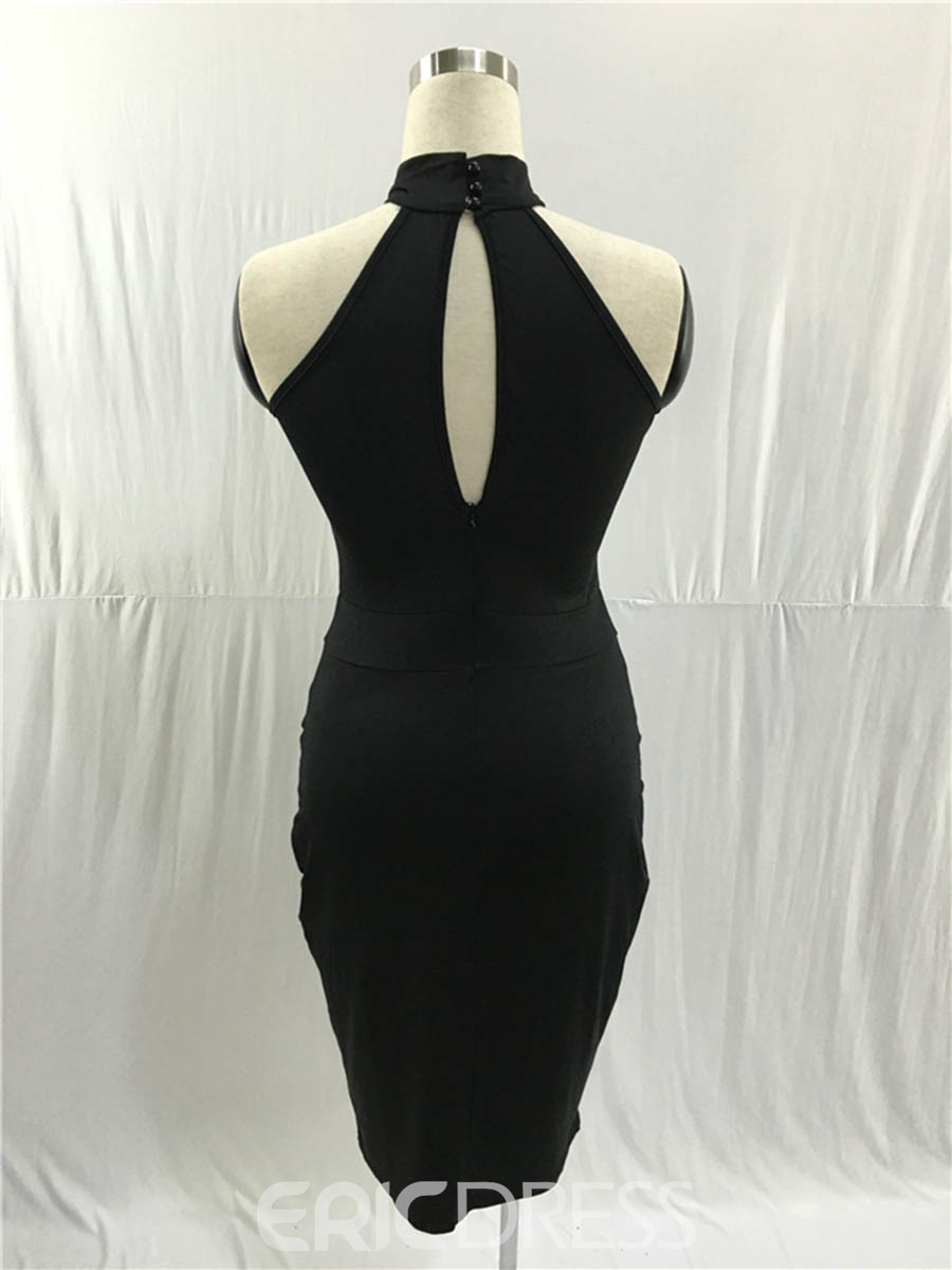 Ericdress Stand Collar See-Through Hollow Bodycon Dress