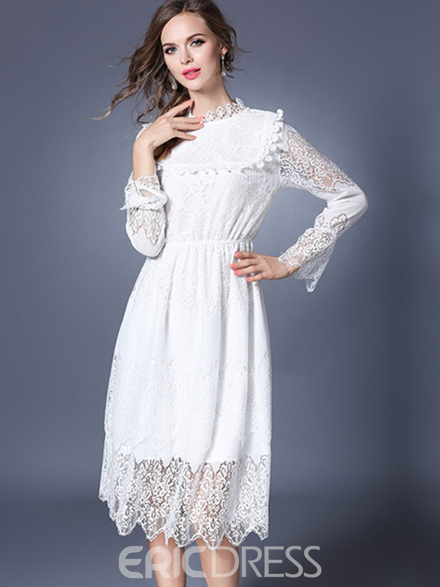 Ericdress Solid Color Stand Collar Hollow Lace Dress