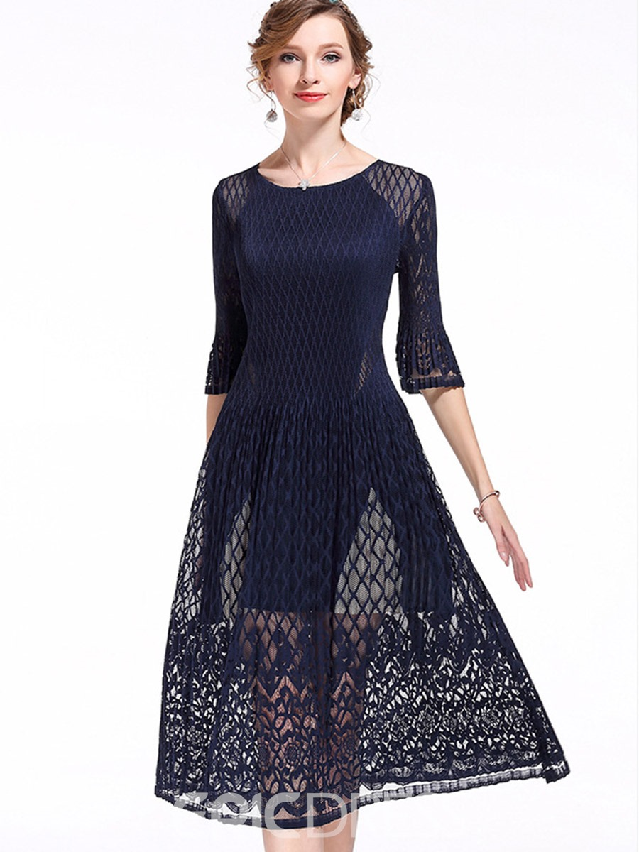cb6cad075d7 Ericdress Plain Lace Patchwork Half Sleeves Maxi Dress 12827491 ...