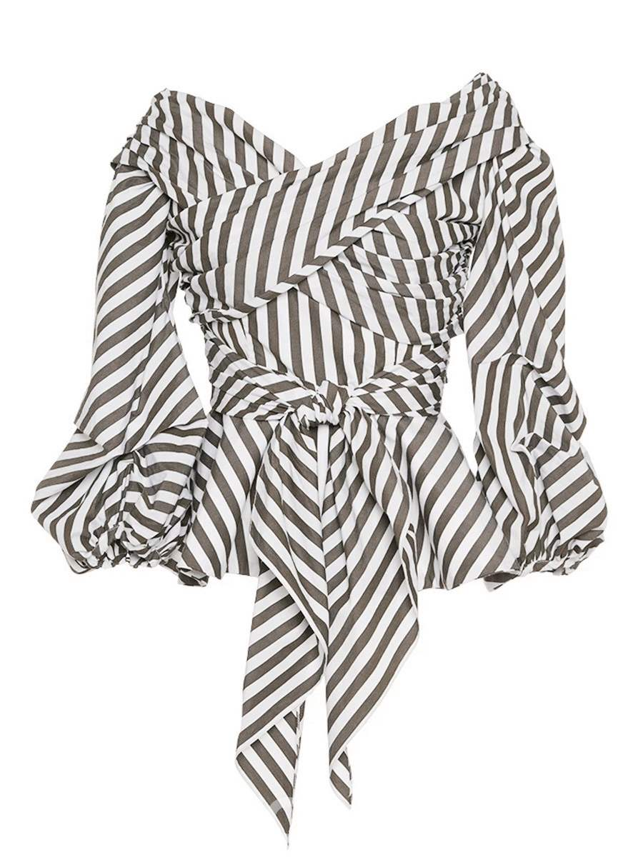 Ericdress Slash Neck Stripe Pleated Bell Sleeve Wrap Blouse