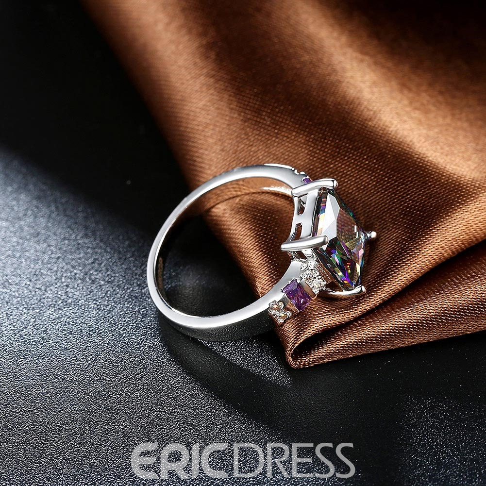 Ericdress Splendid Ultra Violet Square Cut Amethyst Wedding Ring