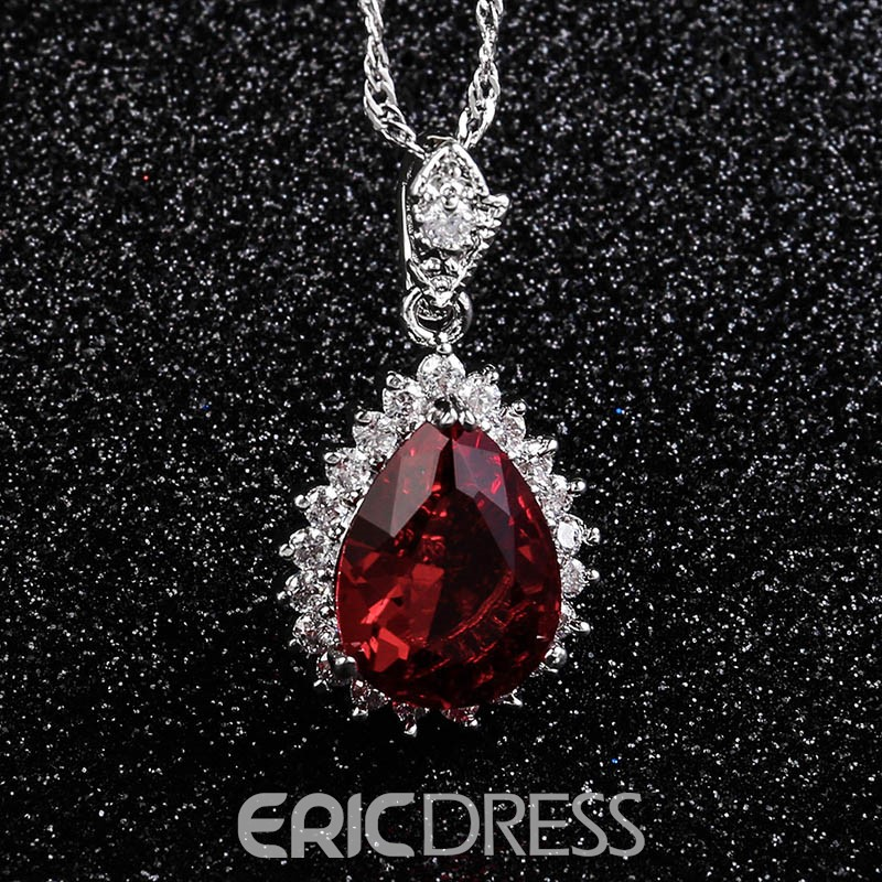 Ericdress Splendid Waterdrop Ultra Violet Rhinestone Pendant Necklace