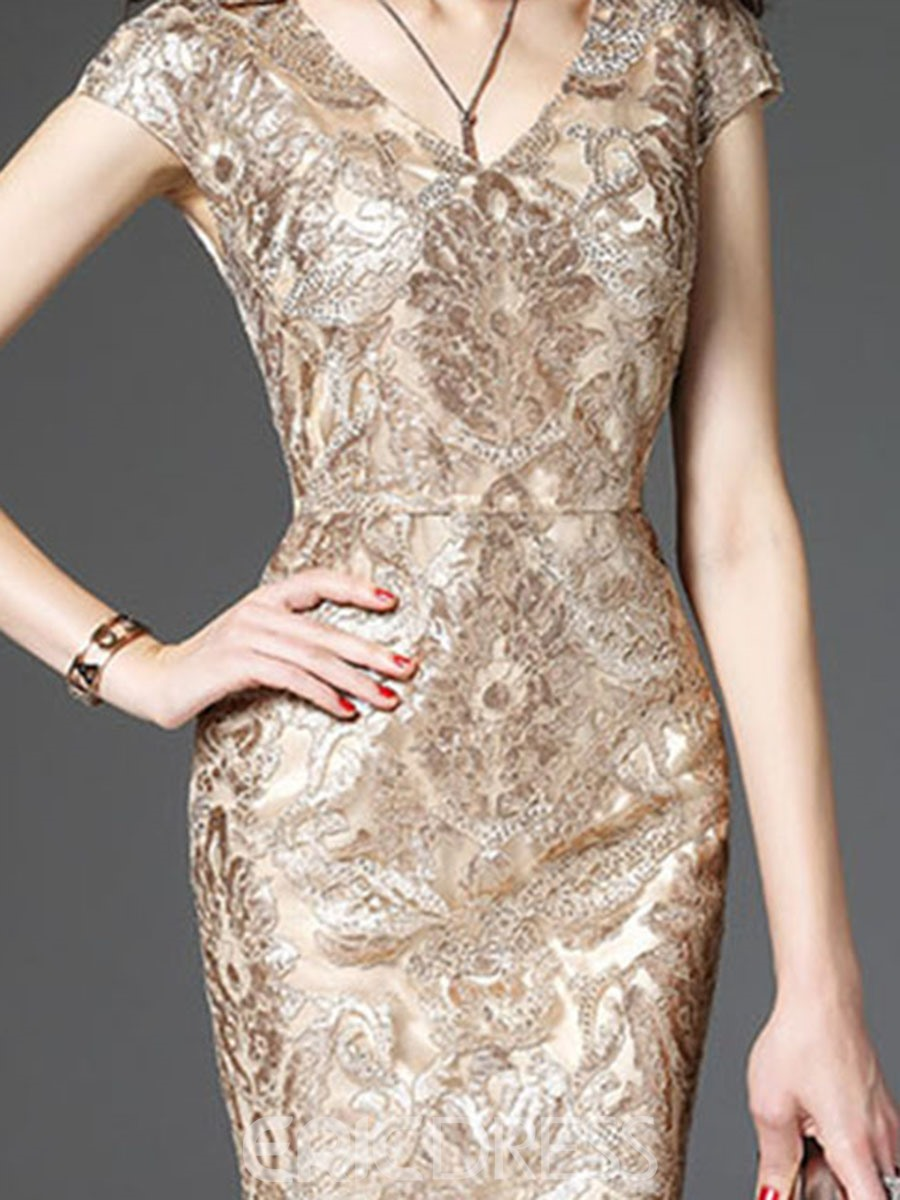 Ericdress Sequins V-NeckEmbroidery Bodycon Dress