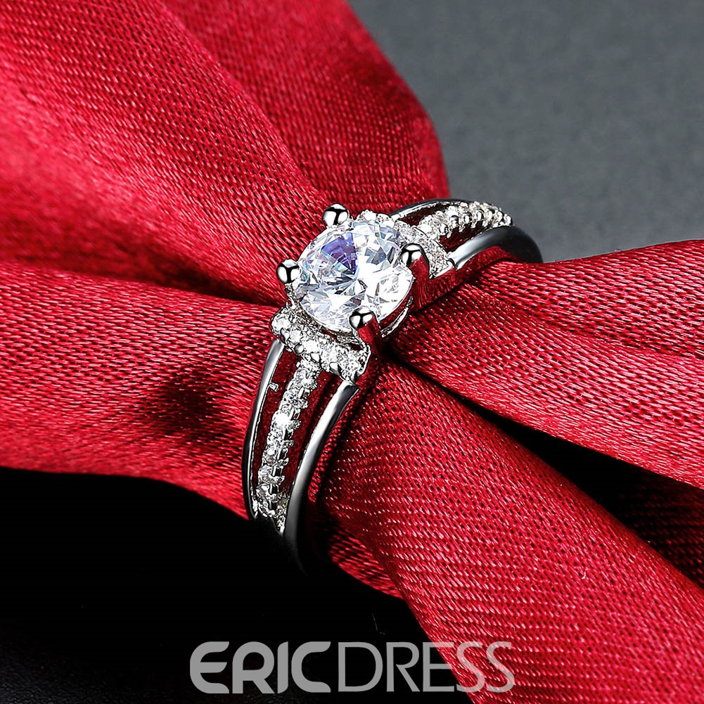 Ericdress Hearts and Arrows Round Cut Wedding Ring