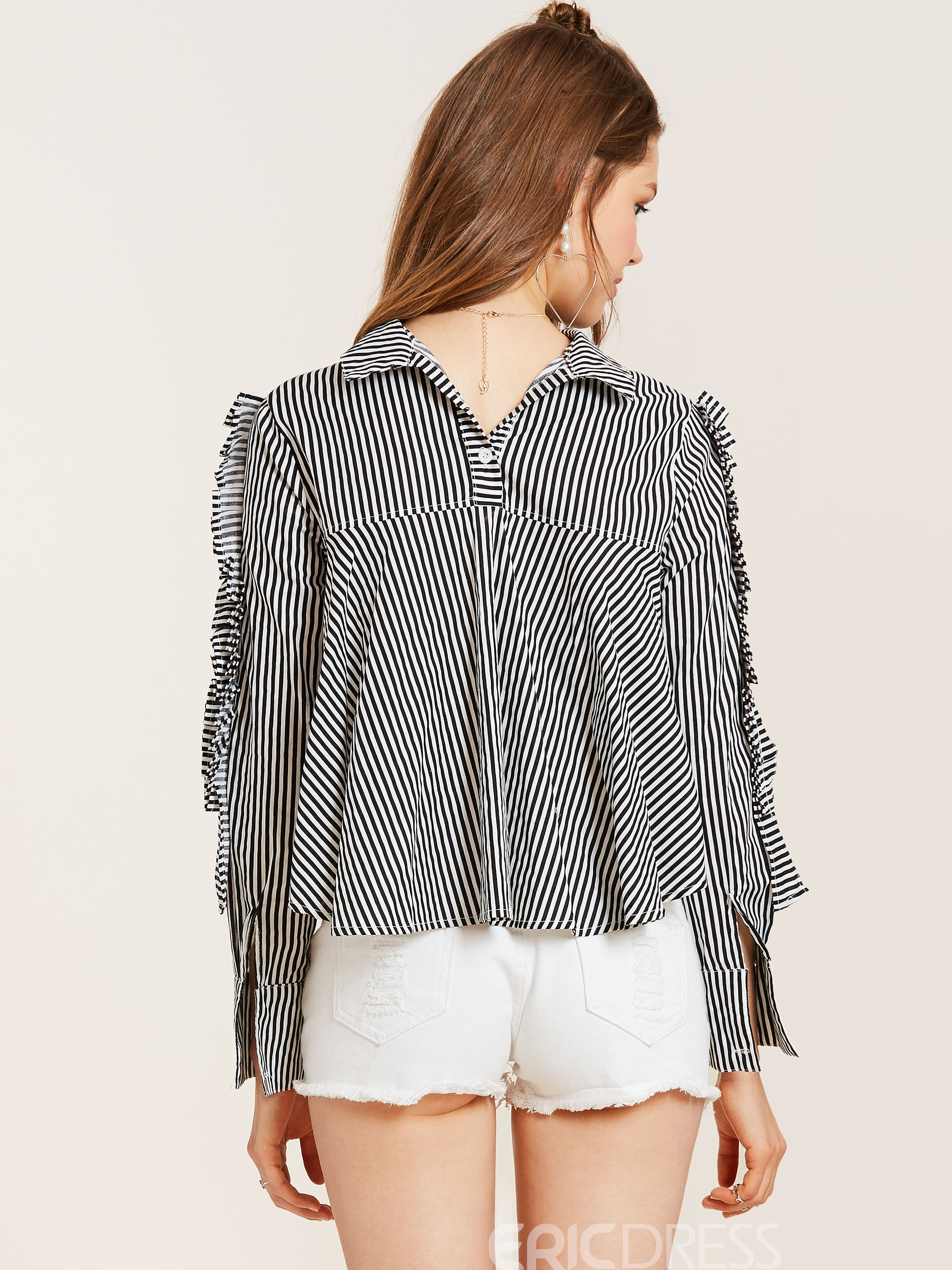 Ericdress Lapel Stripe Pleated Pullover Blouse