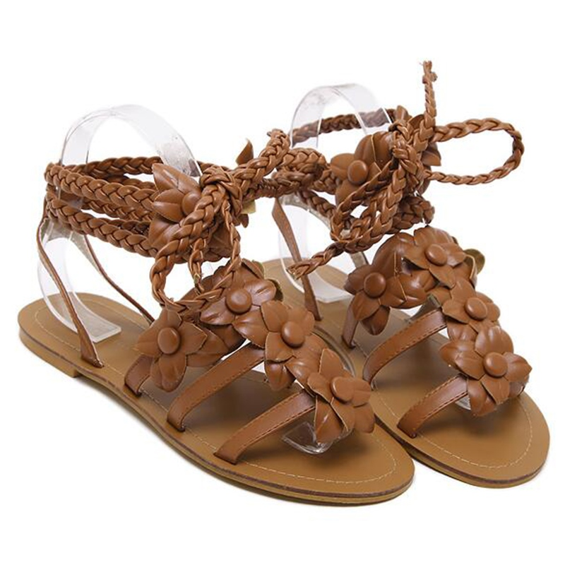 Ericdress Roman PU Flower Decorated Cross Strappy Flat Sandals
