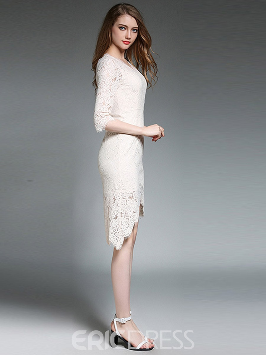 Ericdress Ladylike V-Neck Asymmetric Lace Dress