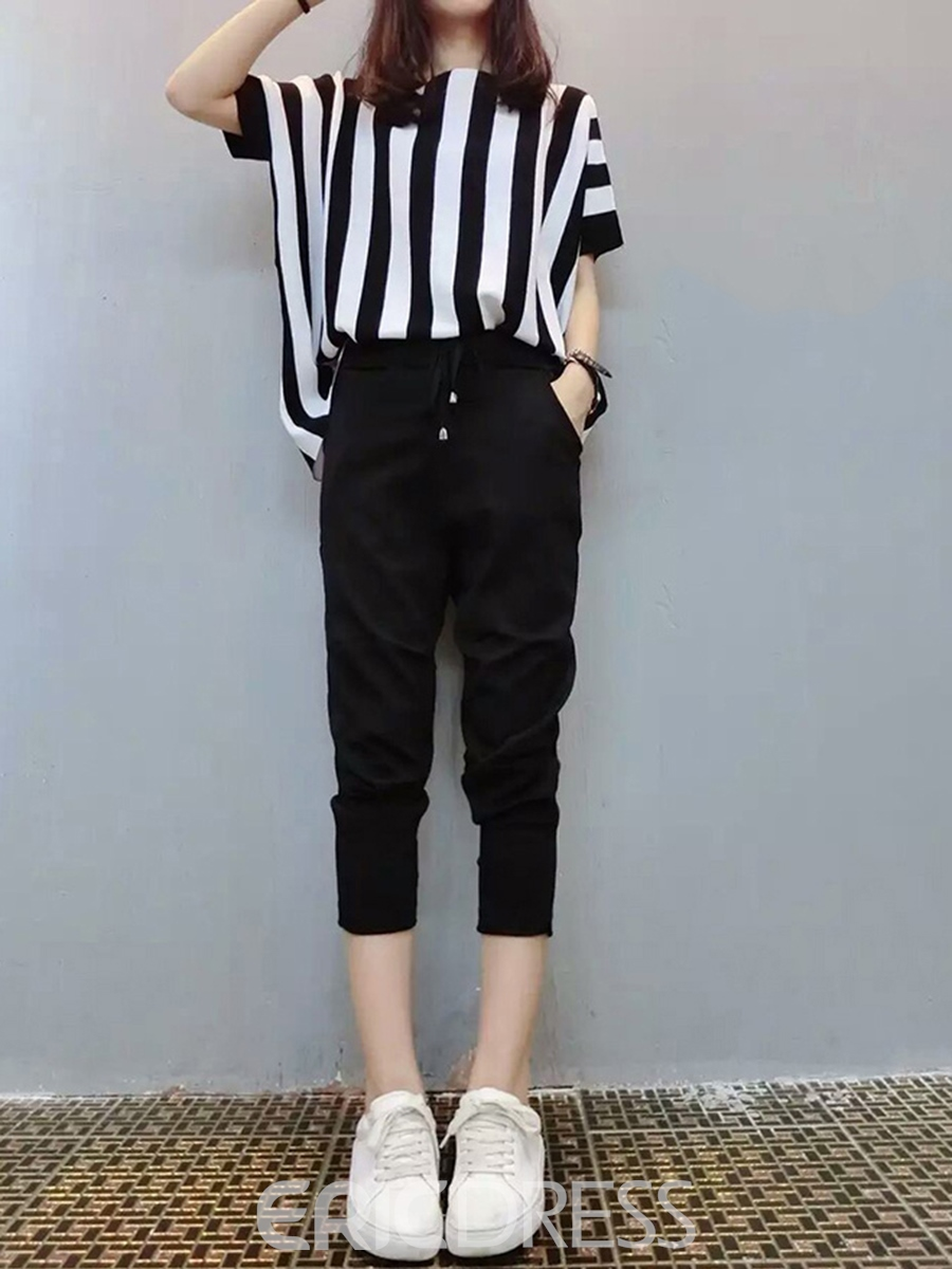 Ericdress Stripe T-Shirt and Mid-Calf Pants Women's Two Piece Set