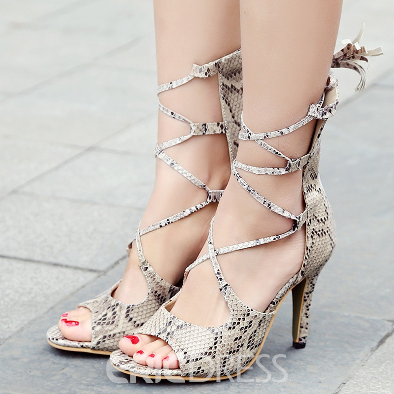 Ericdress Snake Print Peep Toe Lace up Stiletto Sandals