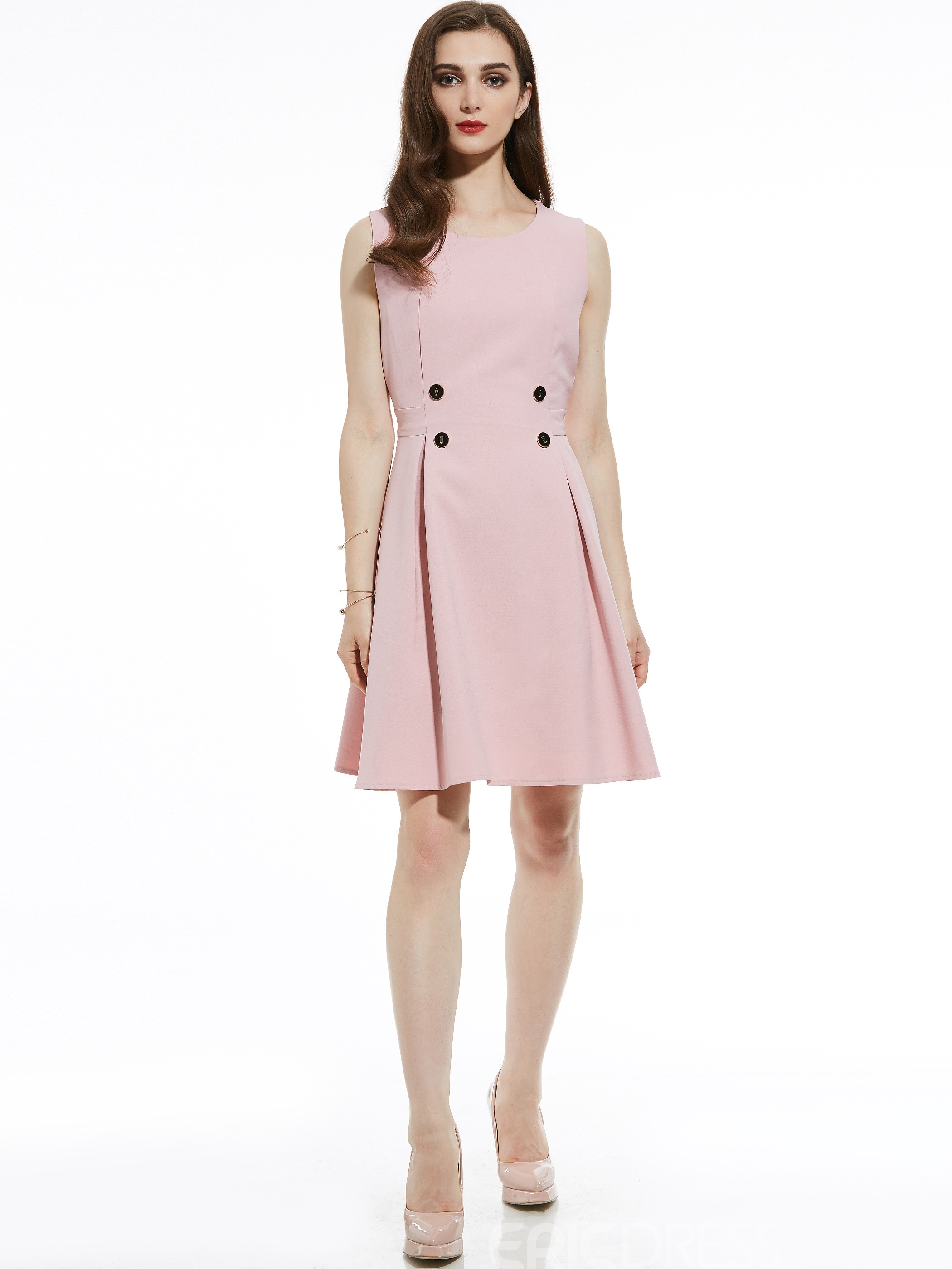 Ericdress Round Neck Sleeveless High-Waist A-Line Dress