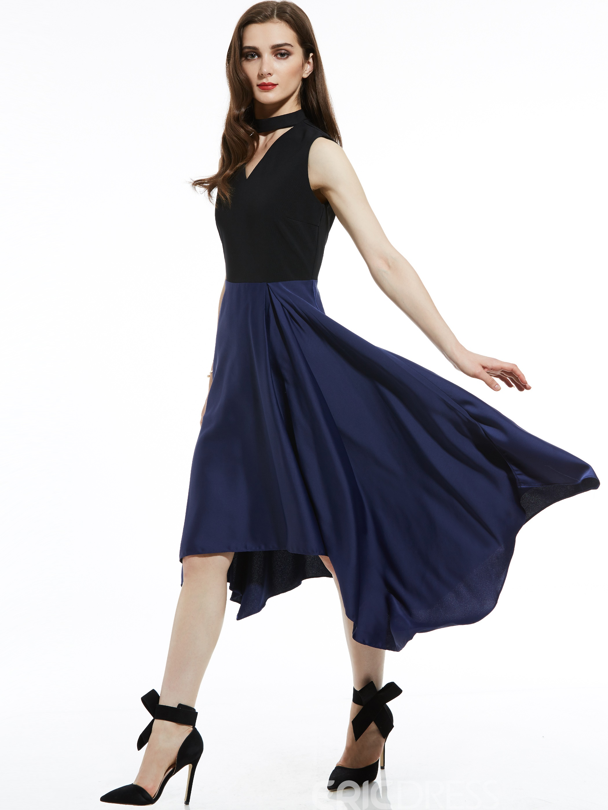 Ericdress V-Neck Color Block Asymmetrical A Line Dresses