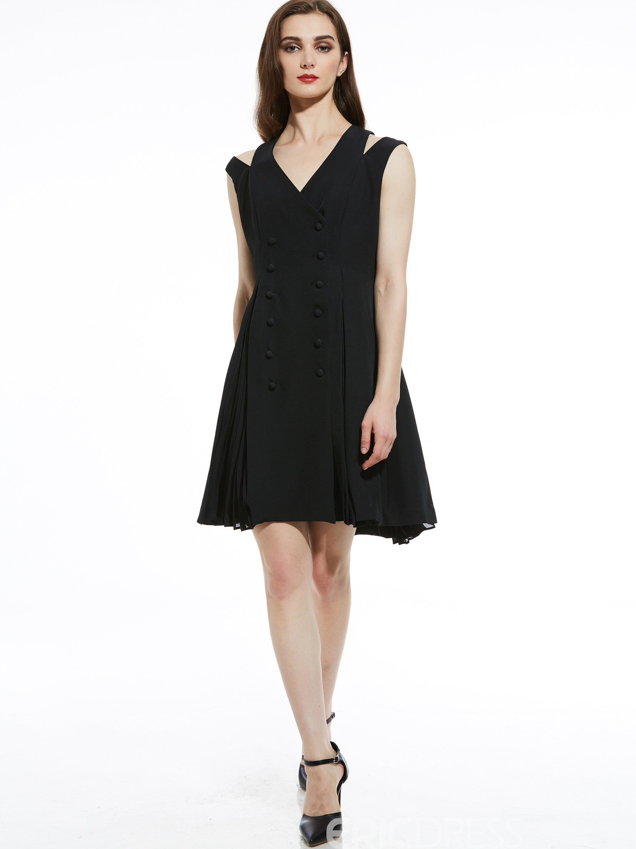 Ericdress V-Neck Double-Breasted A-Line Dress
