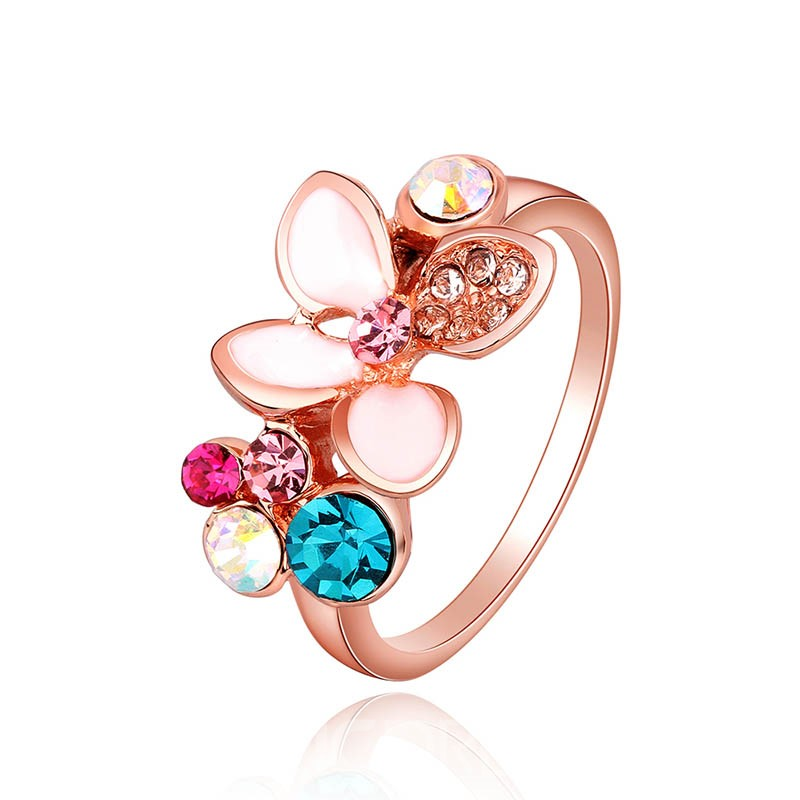 Ericdress Fancy Color Rhinestone Flower Wedding Ring