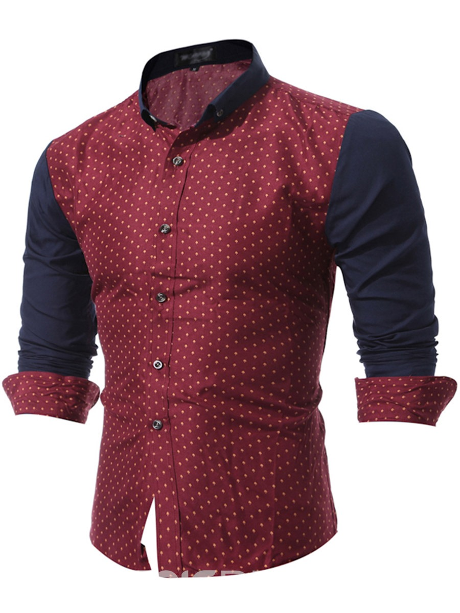 Ericdress Long Sleeve Patched Polka Dots Casual Men's Shirt