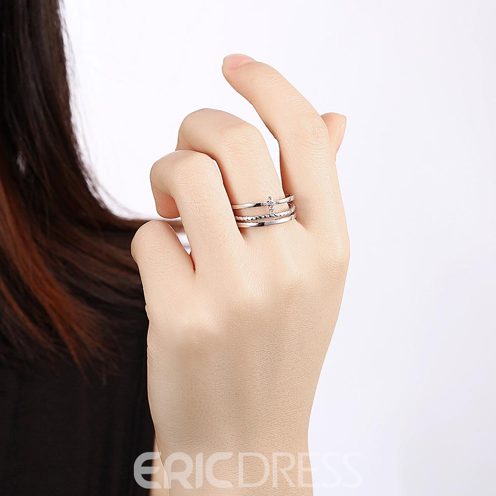 Ericdress Cross Shape Diamante Adjustable Ring