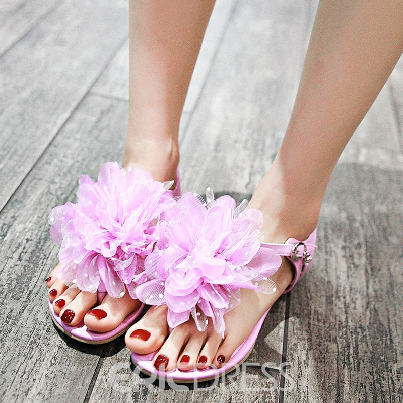 Ericdress Lovely Lace Flower Thong Flat Sandals