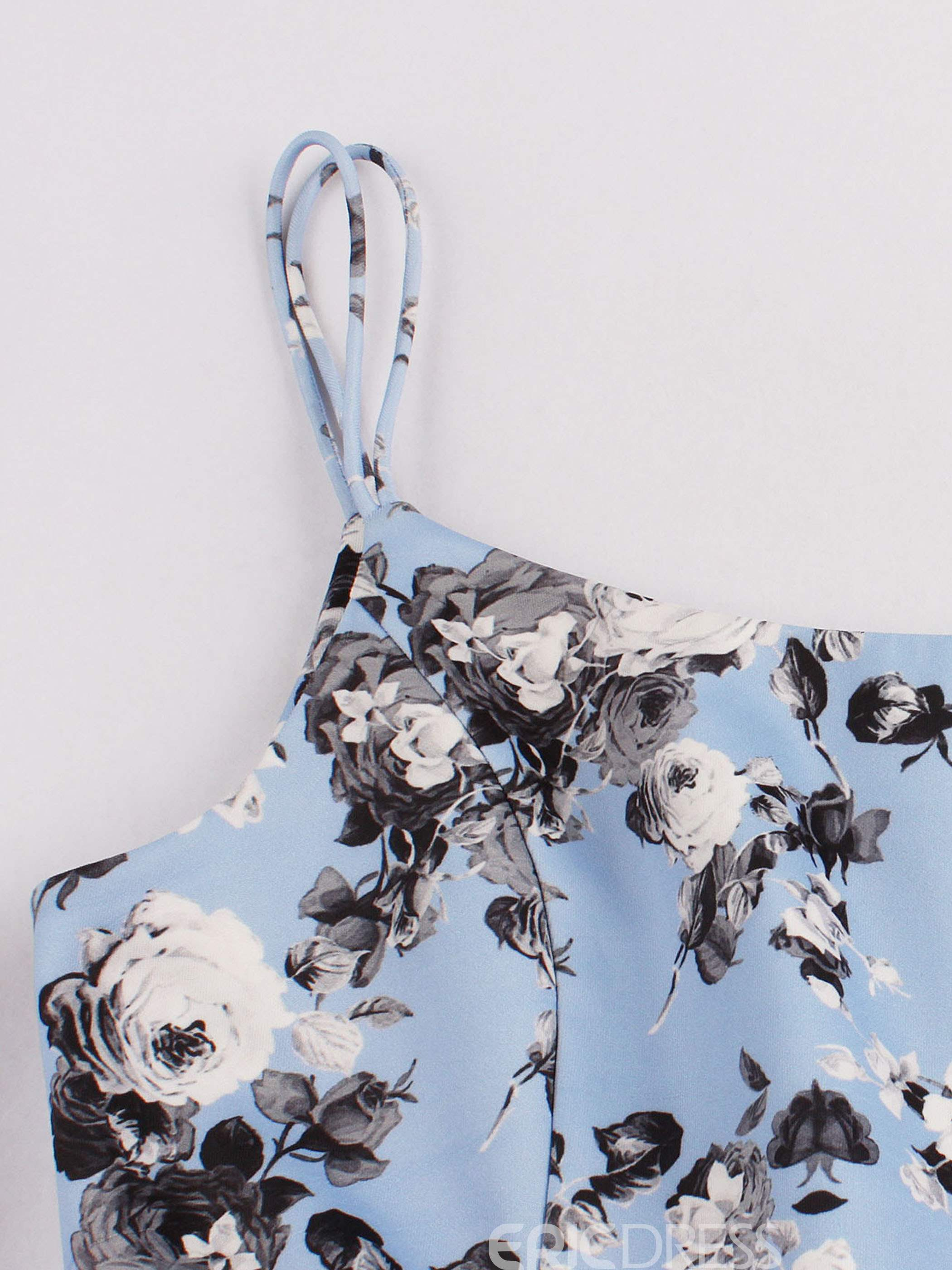 Ericdress Floral Print Spaghetti Strap A Line Dress
