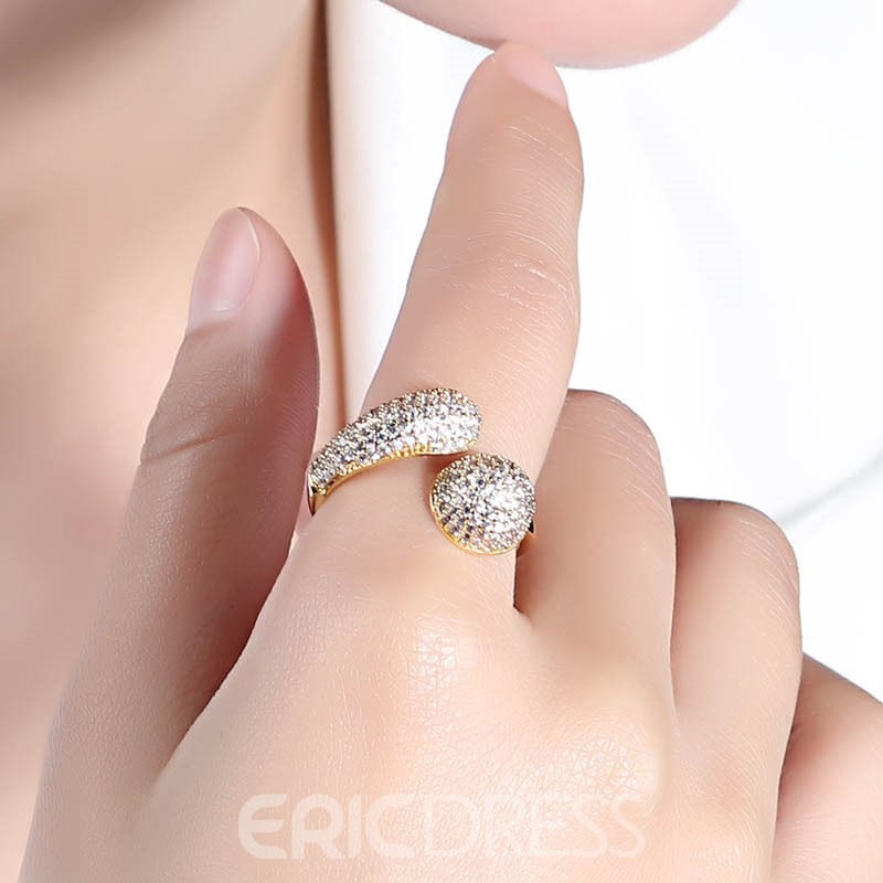 Ericdress Fully- Jewelled 18K Gold Fashion Ring