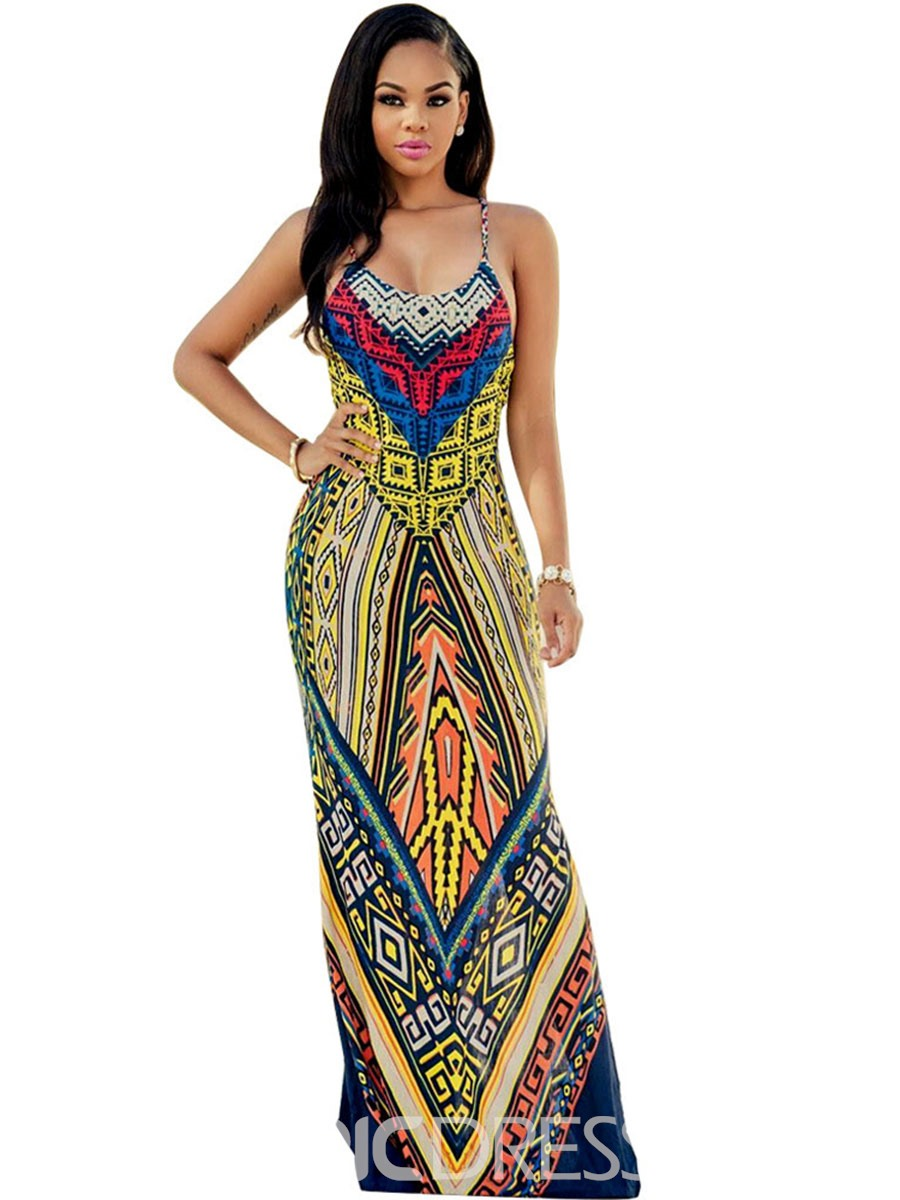 Ericdress Spaghetti Strap Geometric Backless Maxi Dress