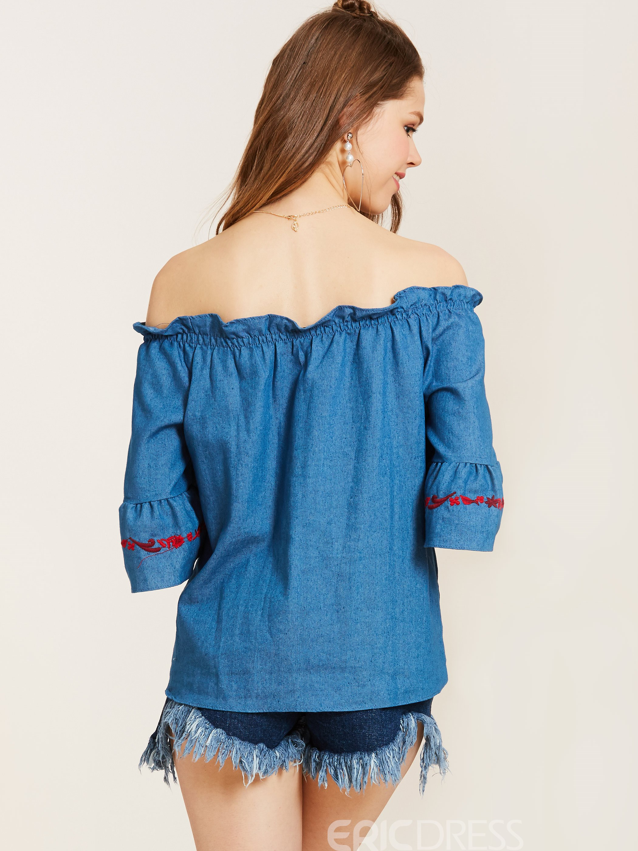 Ericdress Slash Neck Floral Embroidery Flare Sleeve Blouse