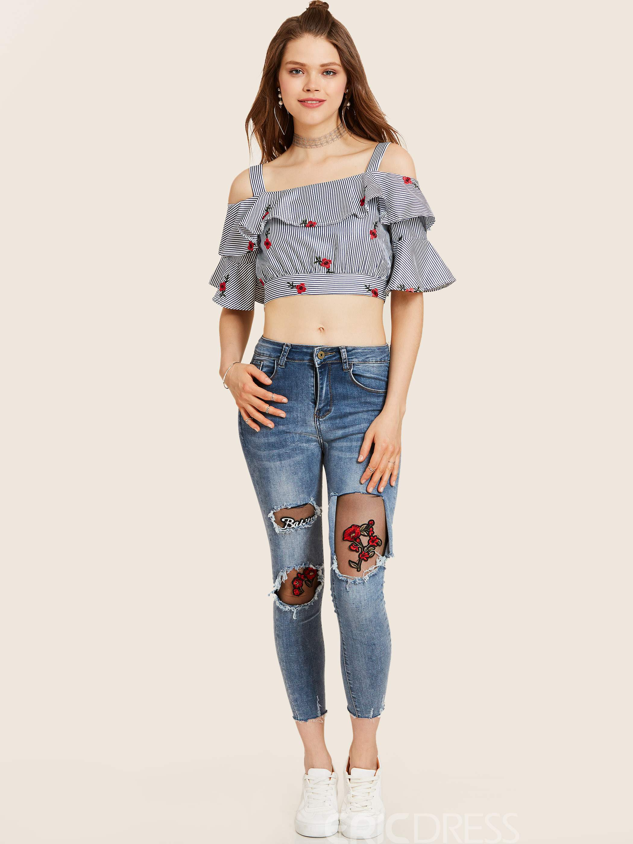 Ericdress Slash Neck Ruffle Sleeve Floral Embroidery Stripe Blouse