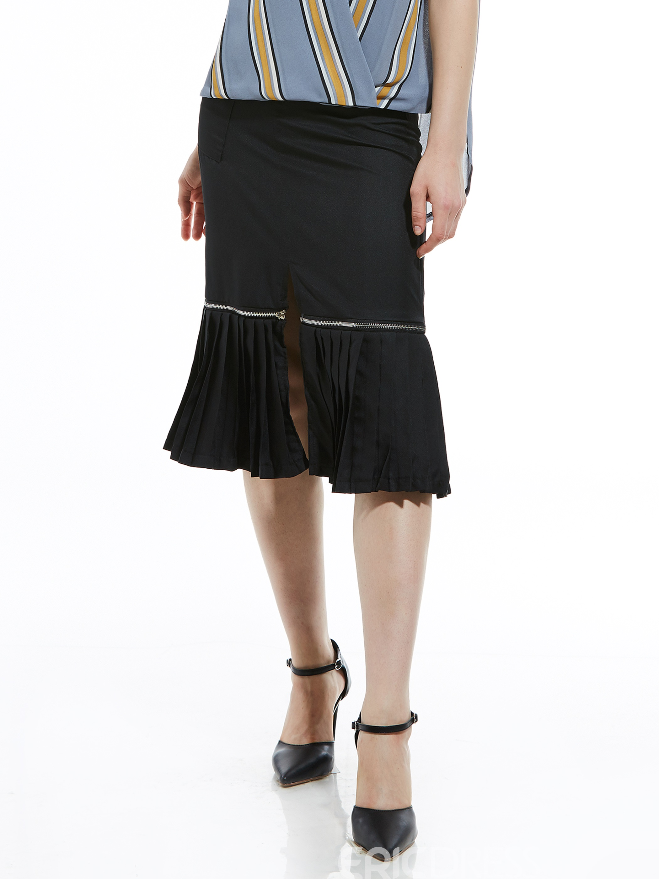 Mid-Waist Plain Mid-Calf Pleated Women's Skirt