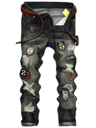 Ericdress Straight Denim Holes Medal Patched Unique Mens Pants фото