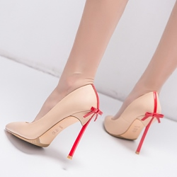 Ericdress Color Block Pointed Toe Stiletto Heel Pumps with Bowknot фото