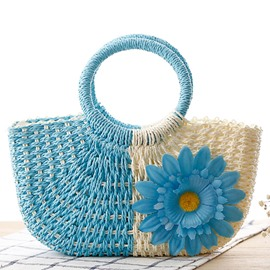 Ericdress Bright Color Sunflower Decorated Straw Handbag