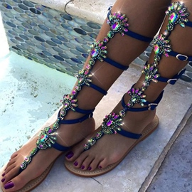 Ericdress Luxurious Rhinestone Buckles Decorated Flat Sandals