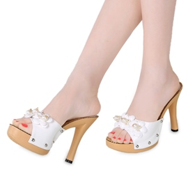 Ericdress Flower&pearl Decrated Peep Toe Mules Shoes