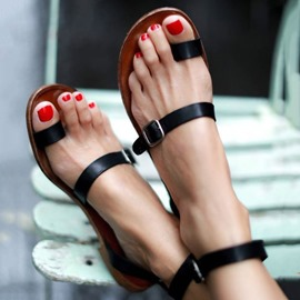 Ericdress Black Thong Buckle Flat Sandals