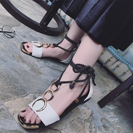 Ericdress PU Lace up Open Toe Flat Sandals