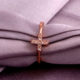 Ericdress cross channel ajuste diamante rosa anillo de bodas de oro