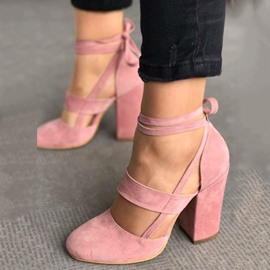 Ericdress Pink Lace-Up Round Toe Pumps